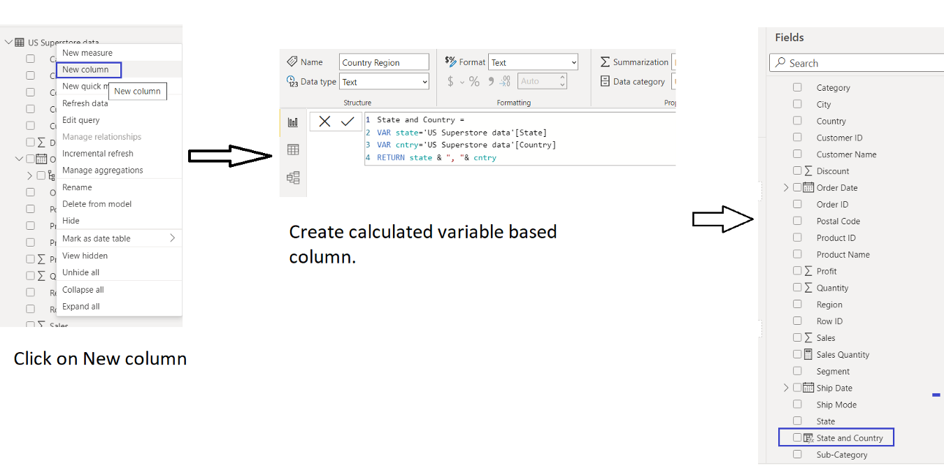 DAX Variable, Calculated Column, Power BI