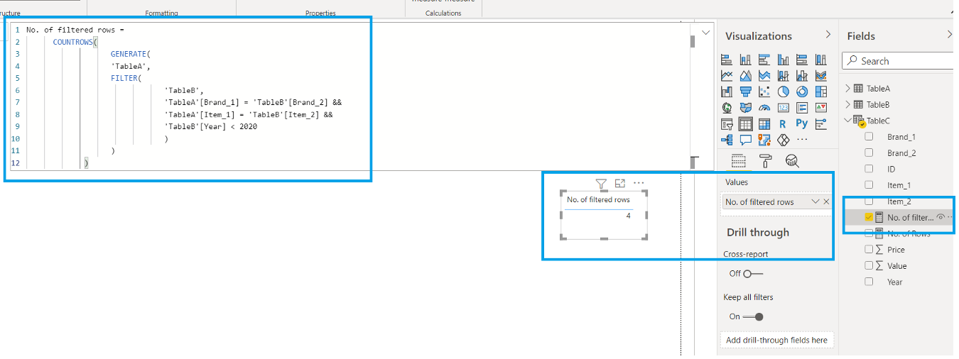GENERATE Function with FILTER in DAX Power BI