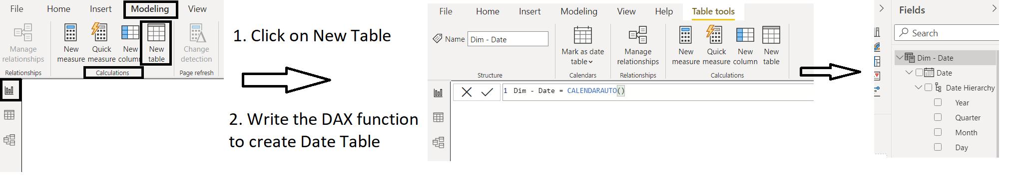 Date Table in Power BI using DAX