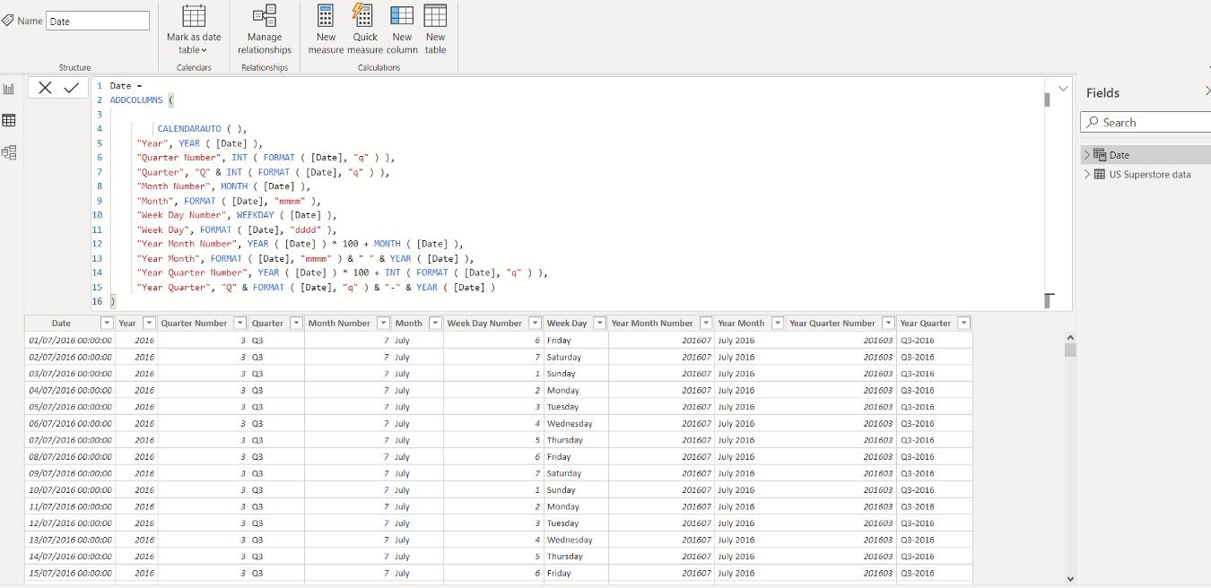 CALENDERAUTO() DAX Power BI Date Table