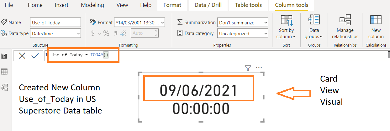 Date and Time function in DAX, Power BI