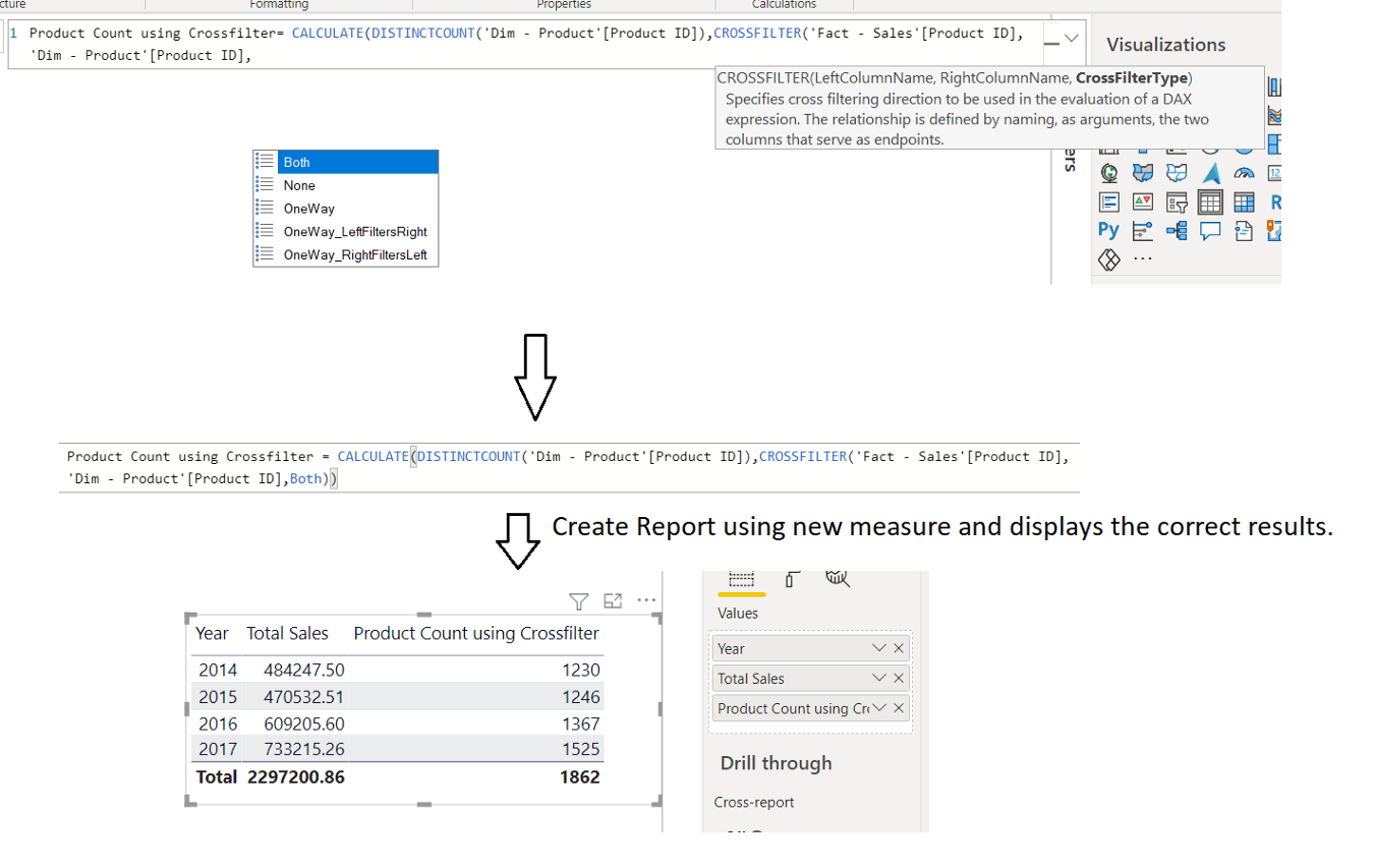 CROSSFILTER function in DAX, Relationship function in DAX, Power BI